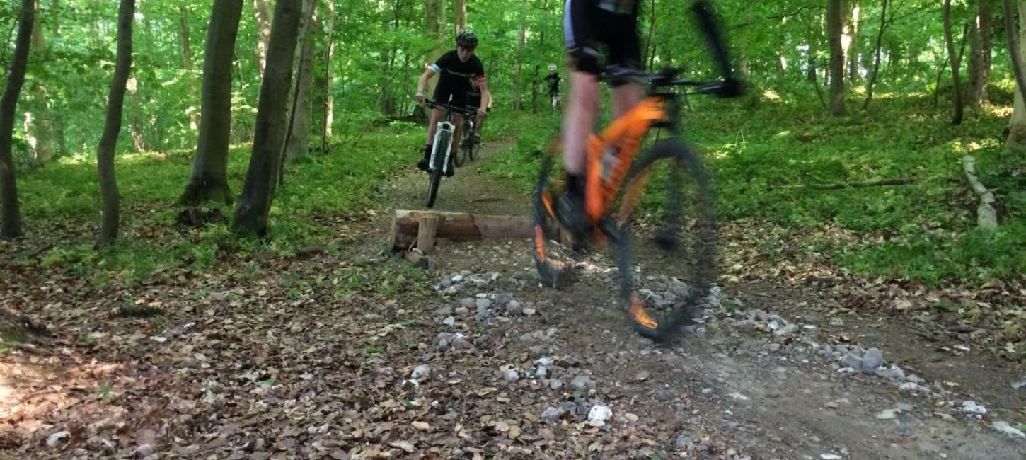 Mountainbike track med cykelister